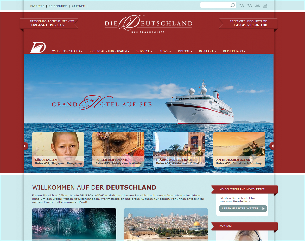 New Website for the Cruise Liner Die Deutschland goes online